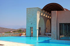 Pool and terrace on summer resort, Greece Royalty Free Stock Images