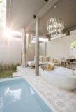 Pool terrassen Arkivbild