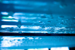 Pool Texture. Ceiling photo of condensed water from an indoor pool. The blue color is caused by the pool reflections, no processing Stock Photo