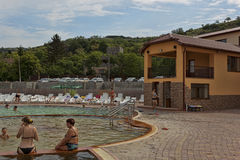 In the pool with thermal waters in Beregovo Stock Photography