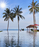 The pool, three palm trees and beach pavilions Royalty Free Stock Photography