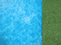 Pool top view with green grass Stock Photo