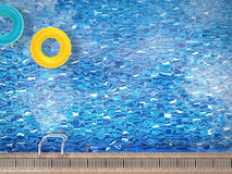 Pool top view with swim ring Stock Image