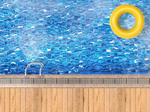 Pool top view with swim ring Royalty Free Stock Photography
