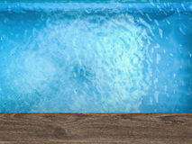 Pool top view with wooden floor Stock Images