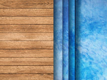 Pool top view with wooden floor and ladder Royalty Free Stock Photography