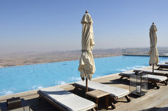 Pool in tourist hotel, Negev desert. Royalty Free Stock Images