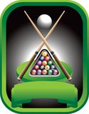 Pool tournament. Pool championship trophy with crossed sticks and a set of billiard balls Stock Images