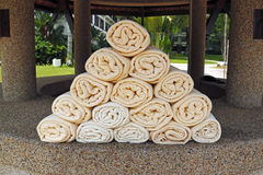 Pool towel. An image of pool towel stacked into a pyramid shape arrangement royalty free stock images