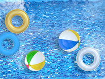 Pool with toys Stock Photo