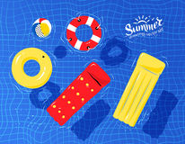 Pool toys floating on water. Vector illustration of pool rafts, rubber ring, beach ball and lifebuoy floating on water Royalty Free Stock Photos