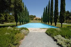 Pool and Trees. Photo from Pulgas Water Temple - S.Mateo - Ca Royalty Free Stock Photography