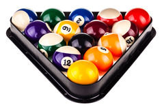 Pool triangle and balls Royalty Free Stock Image