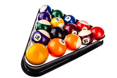 Pool triangle and balls isolated Stock Photography