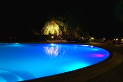 Pool in a tropic hotel. Blue pool in a tropic hotel Royalty Free Stock Image