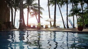 Pool in Tropical Beach Resort Paradise stock video footage