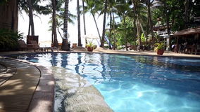 Pool in Tropical Beach Resort Paradise stock footage
