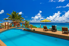 Pool at tropical beach - Seychelles Stock Photography