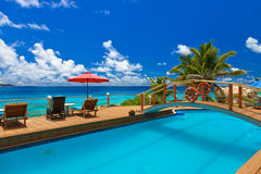 Pool at tropical beach - Seychelles Royalty Free Stock Photo
