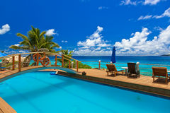 Pool at tropical beach - Seychelles Stock Photos