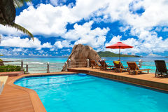 Pool at tropical beach - Seychelles Royalty Free Stock Photo