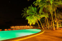 Pool on tropical Maldives island Stock Photo