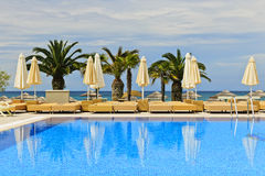 Pool at tropical resort Stock Images