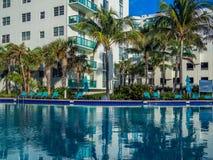 Pool at tropical resort. Empty pool at tropical resort at the morning Stock Photo