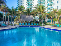 Pool at tropical resort. Empty pool at tropical resort at the morning Royalty Free Stock Photography