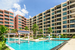 Pool with turquoise water in hotel yard Stock Photography