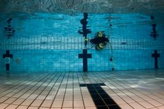 Pool underwater with scuba gear stock photos
