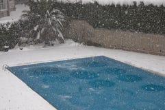 Pool unter Schnee Lizenzfreie Stockfotos