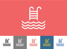 Pool vector icon isolated. Waves, Summer or Stairs Royalty Free Stock Photo