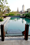 Pool view with pagoda background Royalty Free Stock Photos