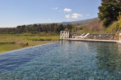 Pool in the vineyards in Etna Sicily royalty free stock images