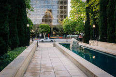 Pool and walkway at Maguire Gardens, in downtown Los Angeles, Ca Royalty Free Stock Image