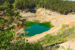 A pool of water in a mined area at otter creek, bc Stock Photos
