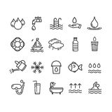 Pool and Water Signs Black Thin Line Icon Set. Vector. Pool and Water Signs Black Thin Line Icon Set Include of Sea, Drink, Drop and Rain. Vector illustration of vector illustration
