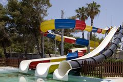 Pool water slide. At a ware park in athens Royalty Free Stock Photography