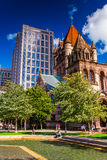 Pool of water and Trinity Church, at Copley Square in Boston, Ma Royalty Free Stock Images