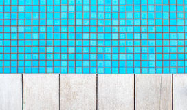 Pool water and white wood floor Royalty Free Stock Image
