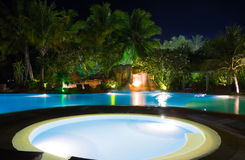 Pool and waterfall at night Stock Photography