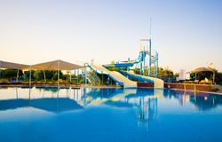 Pool and  waterslides Royalty Free Stock Image