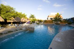 Pool and waterway at luxury resort in Mexico Stock Image