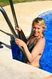 Pool with woman Royalty Free Stock Images