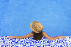 Pool woman hat  relax Stock Photos