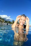 Pool woman on holidays swimming Stock Image