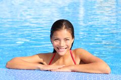 Pool woman natural beauty stock photography