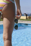 Pool Woman with sunglasses Stock Images