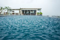 Pool in Yogyakarta during rain stock photography